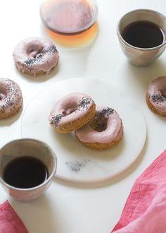 Rhubarb Poppy Seed Baked Doughnuts // www.acozykitchen.com