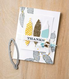 We absolutely love the look of this card made with the Four Feathers stamp set and coordinating framelit set.