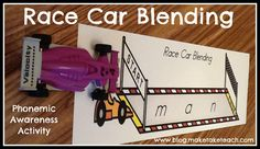 Fun activity for blending CVC words. Boys love it!  Great for small group instruction.