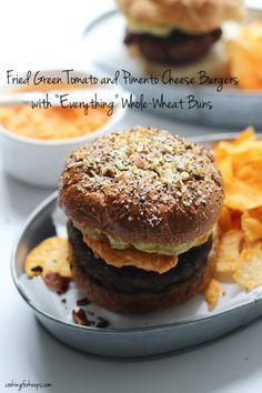 Fried Green Tomato and Pimento Cheese Burgers with Everything Whole-Wheat Buns