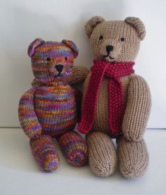 Teddy Bear Stripes - This pattern is available as a free Ravelry download. This pattern can be used to knit a plain teddy bear or one that's covered in stripes. When worked in DK weight yarn the bear is 30cm tall but the size could be altered by using thinner or thicker yarn. Tips are given on managing all those colours, including sewing the seams neatly. knitting patterns, teddy bears, crochet toy, bear stripe, myteddi bear, stripes, toy pattern, knit pattern
