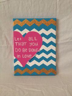 Chevron Heart Canvas with                   1 Corinthians 16:14 by Cuteandcraftytb, $20.00