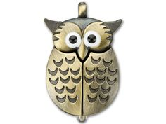 Antique Brass-Plated Vintage Style Owl Watch Pendant with Movable Wings