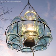 Mason jar chandelier - need this for the backyard!