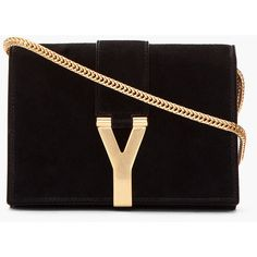 SAINT LAURENT Black Suede And Gold Logo Purse ($1,195) ❤ liked on Polyvore