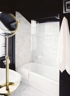 Black walls against the gorgeous white marble tile of the shower boy bathroom, white bathrooms, guest bath, kids bath, marbl
