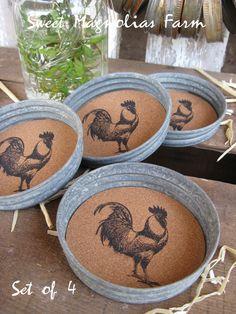 "Canning Jar Coasters - ""Rooster"" - Wide Mouth Lids - Fits any Wide Mouth Jar - Mason jars - Farmhouse Weddings canning jars, cork boards, corks, rooster, sweet magnolia, blog, mason jars, magnolia farm, jar lids"