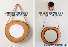 DIY Anthropologie Inspired Wood Slice Mirror #diy #knockoff