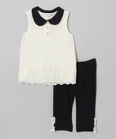 Look what I found on #zulily! Ivory Lace Tunic & Black Ruffle Leggings - Infant, Toddler & Girls by Little Lass #zulilyfinds
