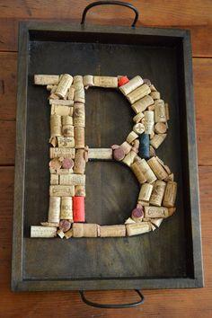 Repurposed wine cork art
