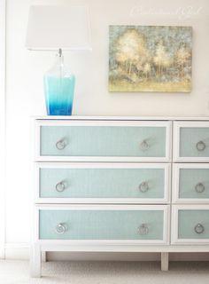 ikea dresser makeover with blue burlap panels