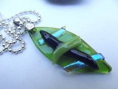 Dichroic Fused Glass Pendant Necklace  by Mtbaldyglassworks