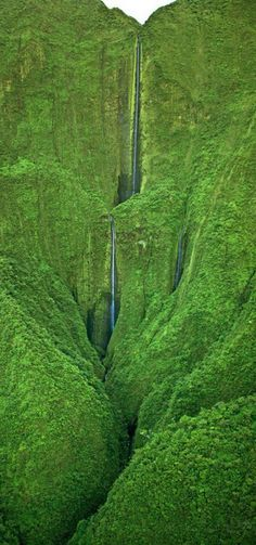 "Honokohau Falls ""Photographed from an open helicopter (doors off) near the summit of Puu Kukui in the West Maui Mountains"" of Maui, Hawaii • photo: Royce Bair."