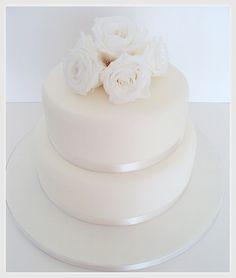White Rose Wedding Cake - simple yet so stunning