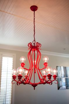 diy red chandelier