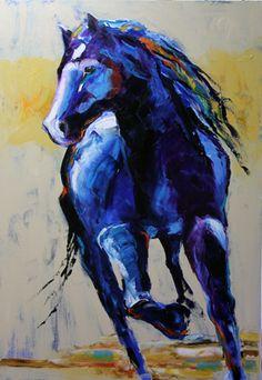 blue artwork, color, blue horse, blue paint, horse paintings