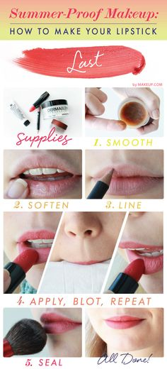Summer-Proof Makeup: How To Make Your Lipstick Last - This summer we vow not to reapply our lipstick constantly. Between beach days, barbeques, and pool parties, we simply don't see when we'll have the time. Instead, we're taking preventative measures: try these five quick tips and you too can kiss reapplying goodbye...