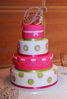 Hot Pink and Lime Wedding Cake