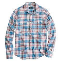 Slim flannel shirt in azure plaid $79.50 J.Crew