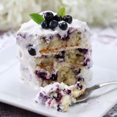 A Sweet and lovely recipe for blueberry cake served topped with whip cream frosting.. Blueberry Cake With Whipped Cream  Recipe from Grandmothers Kitchen.