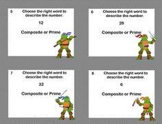 "MATH TASK CARDS GRADES 4-6 ""PRIME OR COMPOSITE?"" NINJA MATH WARRIOR - TeachersPayTeachers.com"