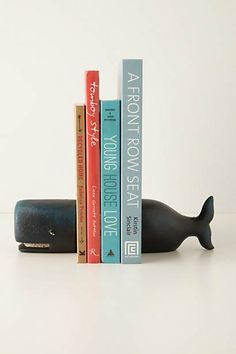 decor, bookends, design books, hous, whales, whale bookend