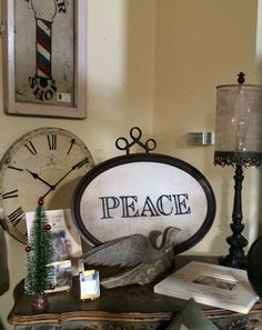 Peace, hand painted and in a vintage frame.  At The Embellished Cottage.