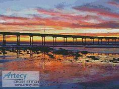 Sunset at Ocean Beach cross stitch pattern.