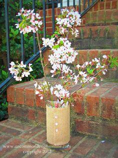 burlap covered vase