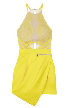 Yellow Sleeveless Overlay Lace Asymmetric Hem Jumpsuit 38.33 // Yellow-nude