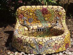 Recycled sink....now a mosaic garden bird bath