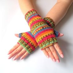 Multicolor Fingerless Gloves. Colorful Arm Warmers. Striped Fingerless Mittens. Ready to Ship.... $30.00, via Etsy.