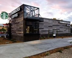 This drive thru store in Denver was built from  reclaimed shipping containers. shop, starbuck store, architectur, coffee, colorado, denver, shipping containers, design, starbucks