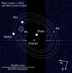 The Pluto and Charon Binary Planet System imaged by the Hubble Space Telescope. NASA?s New Horizons spacecraft will pass through in 2015 using the original baseline trajectory . Credit: Hubble Space Telescope