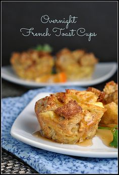 Overnight French Toast Cups - Convenient make-ahead breakfast options :)  Use 1 1/4 cup egg whites vs. 5 eggs if managing elevated cholesterol & LDL is important for your health -- Substitute 1/3 cup Splenda for 1/3 cup sugar if you are managing high blood sugars or high triglyceride levels.  Enjoy! french toast cups