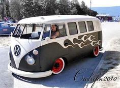 vw bus black and white flames red wheels