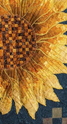quilts and things, beauti sunflow, sunflow quilt, art quilt, free motion