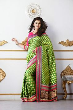 USD 170.56 Green Silk Party Wear Saree    33686