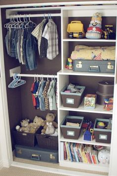 The background paint gives this closet a rich look....you could also use colored/patterned fabric and hang it with small pins to easy change out without having to re-paint!