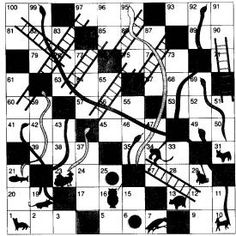 Black & White doodle snakes and ladders