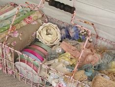 sew, old baskets, vintage lace, ribbons, pink