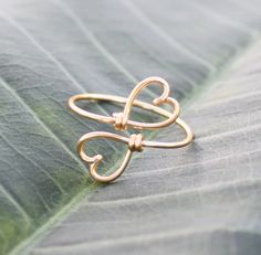 Adorable--Gold Wire Double Hearts Ring  Heart To Heart Ring by FabulousWire, $12.99