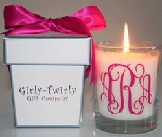 Monogrammed gift candles- would be a cute bridesmaids gift. Something they could actually use again