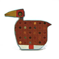 "Cynthia Toops: Bird, Brooch in polymer clay with with pin back. Approx 2 1/2 x 2 1/4""."