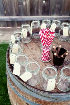 cup, name tags, wedding mason jars drinks, outdoor party, paper straws, outdoor parties, barrel, drink bar, drink stations