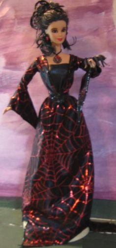 Sexy Gothic Red and Black Spider Mistress~OOAK Barbie Doll Repaint