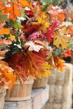 Simple and beautiful, fall leaves in apple bushel baskets.
