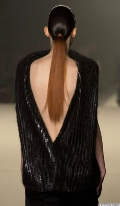 """Fashion Week beauty got grapey: Alexander Wang gave the models """"cognac""""-colored ponytails!"""