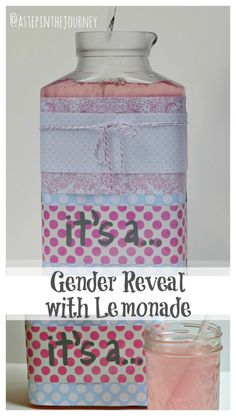 Gender Reveal idea using pink lemonade for a girl and blue raspberry koolaide for a boy! from www.astepinthejou...