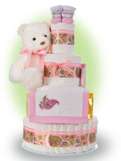 Pink Paisley is such a classic design. Our Pretty and Pink Paisley Diaper Cake makes an elegant gift. Only $91.00